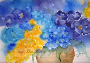Strauss in Vase Aquarell